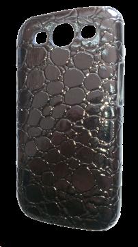 "Накладка для Samsung Galaxy S3 пластик ""кожа"" черная"
