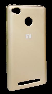 Накладка Xiaomi Redmi 3s силикон Mi золотой