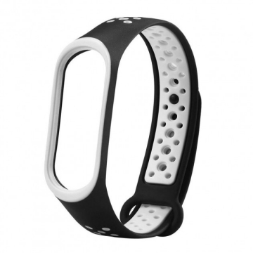 Ремешок для фитнес-браслета Xiaomi Mi Band3/4 черно-серый