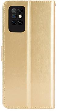 Книжка Infinix Note 8i золотая глянцевая с застёжкой